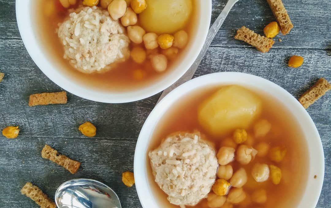 Суп с тефтелями и нутом