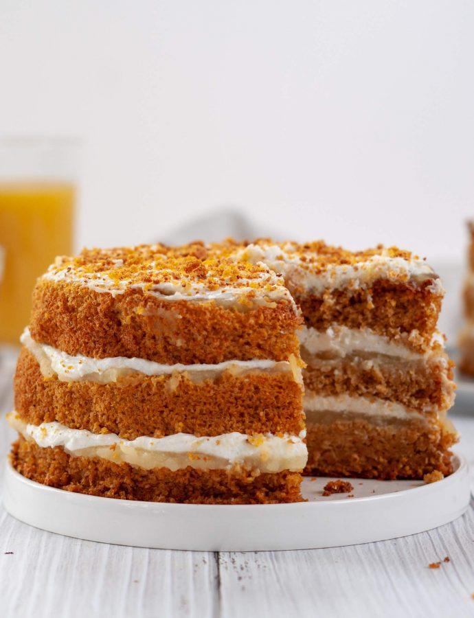 Морковный торт ПП с бисквитом на отрубях