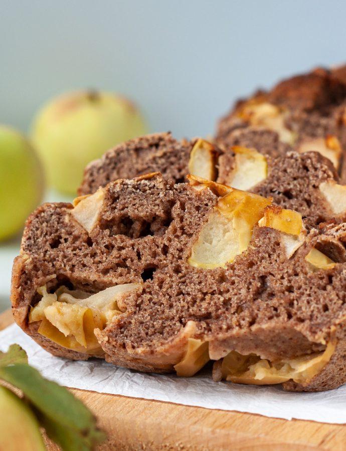 Яблочный кекс с творогом